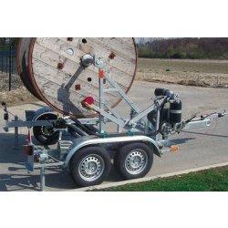 Remorca transport tamburi Lancier cu greutate maxima de 1500kg si diametrul intre 1200 si 2400mm