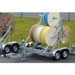 Remorca transport tamburi Lancier cu greutate maxima de 2000kg si diametrul intre 1200 si 3000mm