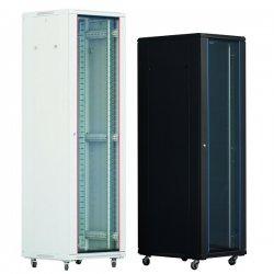 Cabinet rack de podea 22U Xcab, 600mm x 800mm, usa fata sticla fumurie, usa spate metal plin