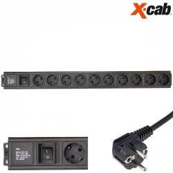 """PRIZA DE RACK 19"""" Xcab, 12 posturi  (schuko), cu intrerupator,16A/250V maX 4000w"""