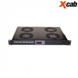 Baterie de 4 ventilatoare + termostat digital Xcab, alimentare 230V, cu montare pe sina 1U