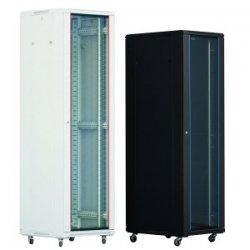 Cabinet rack de podea 32U Xcab, 600mm x 600mm, usa fata sticla fumurie, usa spate metal plin