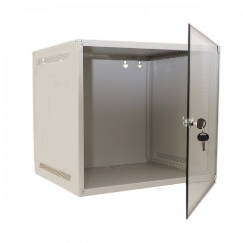 Cabinet rack de perete 9U Xcab, 520mm x 450mm, usa fata sticla securizata, montare pe perete
