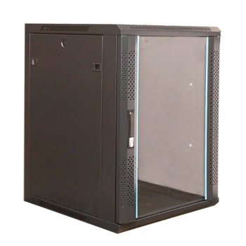 Cabinet rack de perete 22U Xcab, 600mm x 600mm, usa fata sticla securizata, montare pe perete