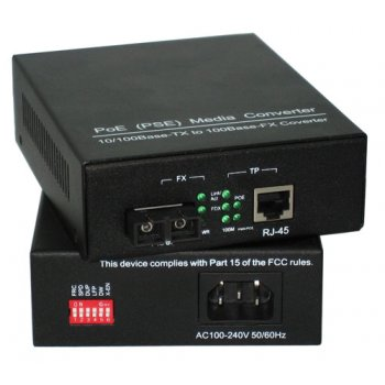 Media convertor 10/100 WDM PoE 80 km SC 1550nm 32W