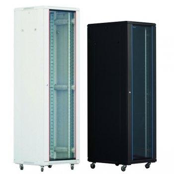 Cabinet rack de podea 18U Xcab, 600mm x 600mm, usa fata sticla, usa spate metal plin