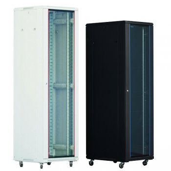 Cabinet rack de podea 22U Xcab, 600mm x 600mm, usa fata sticla fumurie, usa spate metal plin