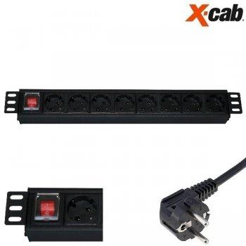 """PRIZA DE RACK 19"""" Xcab, 8 posturi schuko, 16A/250V maX 4000w"""