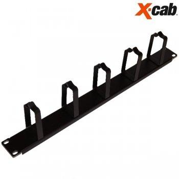 "Organizator de cabluri cu inele Xcab, 1U/19"", orizontal NEGRU"