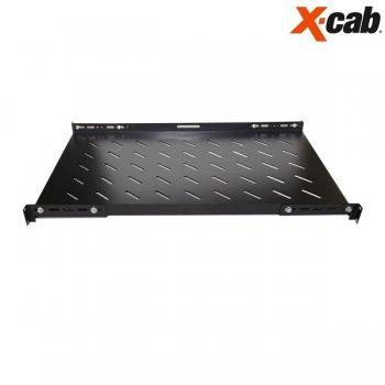 Sertar fix pentru rack 600mm adancime Xcab, cu montare pe toti cei 4 stalpi, L, negru (37cm, adancime utila), 1U