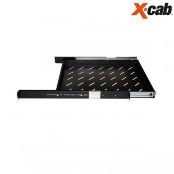 Sertar mobil (pe sina) pentru rack 600mm adancime Xcab, cu montare pe toti cei 4 stalpi, negru, 1U