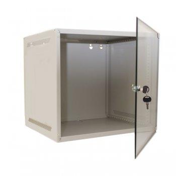 Cabinet rack de perete 6U Xcab, 520mm x 450mm, usa fata sticla securizata, montare pe perete