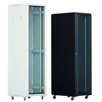 Cabinet rack de podea 27U Xcab, 600mm x 600mm, usa fata sticla fumurie, usa spate metal plin