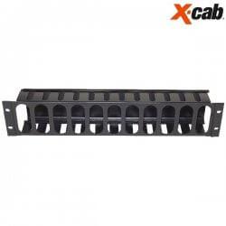 Organizator de cabluri cu degete si capac din metal Xcab, montare orizontala, 2U