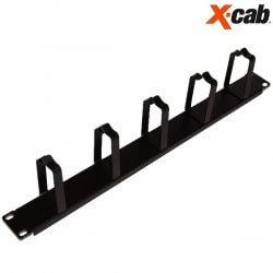 """Organizator de cabluri cu inele Xcab, 1U/19"""", montare orizontala, culoare negru"""