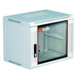 Cabinet rack de perete 9U Xcab, 600mm x 600mm, usa fata sticla securizata, montare pe perete
